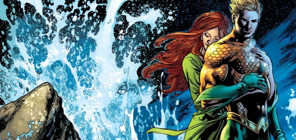 Aquaman, de onderwaterheld, hier afgebeeld met zijn geliefde Mera. (Foto DC Comics)