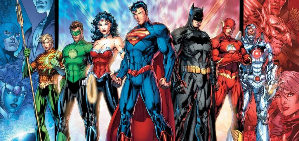 Justice League, het tegengewicht voor The Avengers, met Aquaman, The Green Lantern, Superman, Batman, The Flash en Cyborg. (Foto DC Comics)